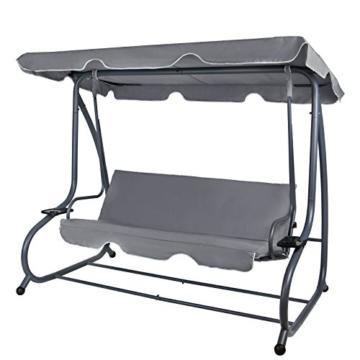 Montafox 4-Sitzer Hollywoodschaukel Gartenschaukel klappbar mit Bettfunktion mit Sonnendach und Liegefunktion für 4 Personen, Farbe:Asphaltgrau - 1