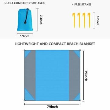 NC Stranddecke wasserdichte Picknickdecke mit 4 Zeltstöpsel, Sandabweisende Campingdecke für den Strand, Campen, Wandern - 2