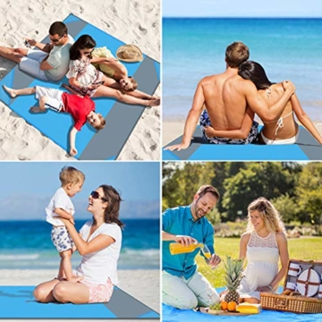NC Stranddecke wasserdichte Picknickdecke mit 4 Zeltstöpsel, Sandabweisende Campingdecke für den Strand, Campen, Wandern - 4
