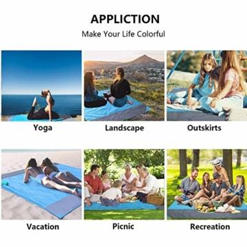 NC Stranddecke wasserdichte Picknickdecke mit 4 Zeltstöpsel, Sandabweisende Campingdecke für den Strand, Campen, Wandern - 6