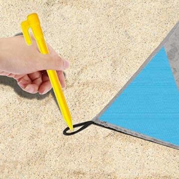 NC Stranddecke wasserdichte Picknickdecke mit 4 Zeltstöpsel, Sandabweisende Campingdecke für den Strand, Campen, Wandern - 7