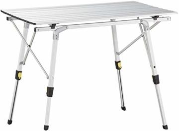 Nestling® Tragbarer Klappbarer Klapptisch, Aluminiumtisch Zum Klappen für Camping Oder Garten Outdoor-Campingküche - Höhenverstellbar (Zweiteilige Tragetasche) (Silber) - 1