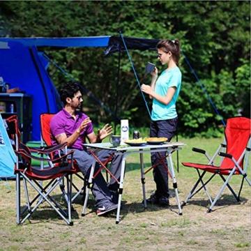 Nestling® Tragbarer Klappbarer Klapptisch, Aluminiumtisch Zum Klappen für Camping Oder Garten Outdoor-Campingküche - Höhenverstellbar (Zweiteilige Tragetasche) (Silber) - 5