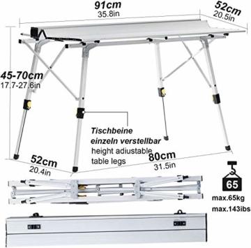 Nestling® Tragbarer Klappbarer Klapptisch, Aluminiumtisch Zum Klappen für Camping Oder Garten Outdoor-Campingküche - Höhenverstellbar (Zweiteilige Tragetasche) (Silber) - 8