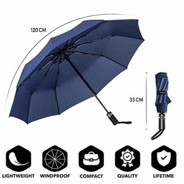 Newdora Regenschirm Taschenschirm Windproof sturmfest Auf-Zu Automatik 210T Nylon Umbrella wasserabweisend klein leicht kompakt 10 Ribs Reise Golfschirm mit Trockenbeutel(Dunkelblau) - 2