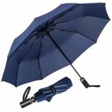 Newdora Regenschirm Taschenschirm Windproof sturmfest Auf-Zu Automatik 210T Nylon Umbrella wasserabweisend klein leicht kompakt 10 Ribs Reise Golfschirm mit Trockenbeutel(Dunkelblau) - 1