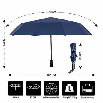 Newdora Regenschirm Taschenschirm Windproof sturmfest Auf-Zu Automatik 210T Nylon Umbrella wasserabweisend klein leicht kompakt 10 Ribs Reise Golfschirm mit Trockenbeutel(Dunkelblau) - 3