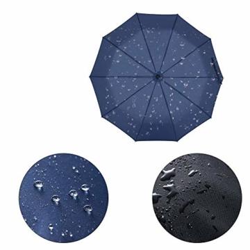 Newdora Regenschirm Taschenschirm Windproof sturmfest Auf-Zu Automatik 210T Nylon Umbrella wasserabweisend klein leicht kompakt 10 Ribs Reise Golfschirm mit Trockenbeutel(Dunkelblau) - 4