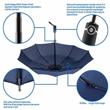 Newdora Regenschirm Taschenschirm Windproof sturmfest Auf-Zu Automatik 210T Nylon Umbrella wasserabweisend klein leicht kompakt 10 Ribs Reise Golfschirm mit Trockenbeutel(Dunkelblau) - 5