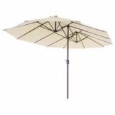 Nexos Doppelsonnenschirm XXL Sonnenschirm Creme mit Kurbel Oval Spannweite 4,65m Polyester 180g/m² Terrasse Marktschirm Riesenschirm Garten-Schirm - 1
