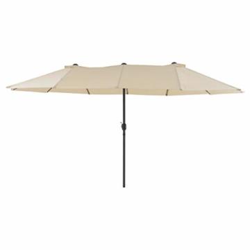 Nexos Doppelsonnenschirm XXL Sonnenschirm Creme mit Kurbel Oval Spannweite 4,65m Polyester 180g/m² Terrasse Marktschirm Riesenschirm Garten-Schirm - 4