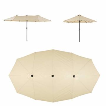 Nexos Doppelsonnenschirm XXL Sonnenschirm Creme mit Kurbel Oval Spannweite 4,65m Polyester 180g/m² Terrasse Marktschirm Riesenschirm Garten-Schirm - 7