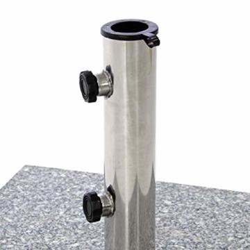 Nexos Sonnenschirmständer 25kg polierter Granit Edelstahl eckig 45 x 45 cm Schirmständer mit Griffmulden und Reduzierringen für Schirme bis 3m Durchmesser geeignet - 2