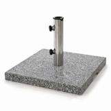 Nexos Sonnenschirmständer 25kg polierter Granit Edelstahl eckig 45 x 45 cm Schirmständer mit Griffmulden und Reduzierringen für Schirme bis 3m Durchmesser geeignet - 1