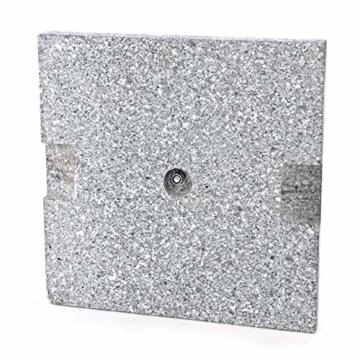 Nexos Sonnenschirmständer 25kg polierter Granit Edelstahl eckig 45 x 45 cm Schirmständer mit Griffmulden und Reduzierringen für Schirme bis 3m Durchmesser geeignet - 4