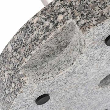 Nexos Sonnenschirmständer Grau rund 25 kg standfest poliertes Granit Edelstahlrohr mit Reduzierhülsen poliert 38x38 cm - 2