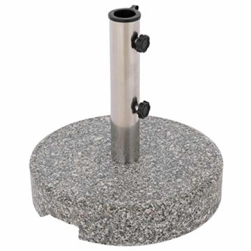 Nexos Sonnenschirmständer Grau rund 25 kg standfest poliertes Granit Edelstahlrohr mit Reduzierhülsen poliert 38x38 cm - 1
