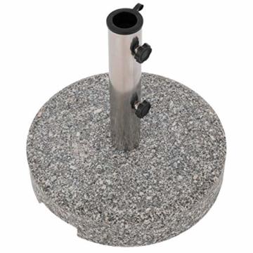 Nexos Sonnenschirmständer Grau rund 25 kg standfest poliertes Granit Edelstahlrohr mit Reduzierhülsen poliert 38x38 cm - 5