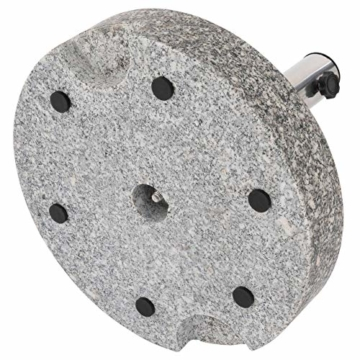 Nexos Sonnenschirmständer Grau rund 25 kg standfest poliertes Granit Edelstahlrohr mit Reduzierhülsen poliert 38x38 cm - 7