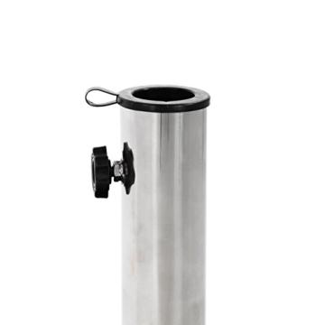 Nexos ZGZ35808 Sonnenschirmständer Granit Matt-Schwarz eckig mit Griff Rollen Reduzierhülsen, Edelstahlrohr poliert 45 x 45 cm 30 kg Für Schirme bis 3 m - 2