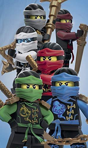 Ninjago Lego Strandtuch Velourstuch 70 x 140cm Duschtuch Badetuch Handtuch 100% Baumwolle Lloyd Kai Zane Cole NYA Jay Assemble - 3
