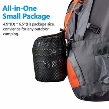 Odoland Camping Geschirr Set 9-teiliges Outdoor Kochgeschirr Aluminium Camping Töpfe Becher Faltbare Besteck Mini Campingkocher für Outdoor Picknick Wandern - 8