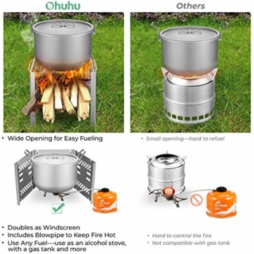 Ohuhu Campingkocher, Camping Holzofen, tragbarer Faltbarer Rucksackkocher mit Aufbewahrungstasche für Wanderungen im Freien Picknick-BBQ - 3