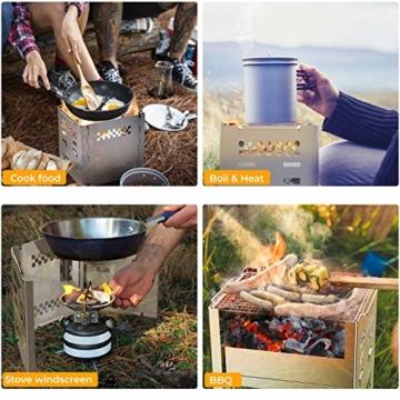 Ohuhu Campingkocher, Camping Holzofen, tragbarer Faltbarer Rucksackkocher mit Aufbewahrungstasche für Wanderungen im Freien Picknick-BBQ - 6