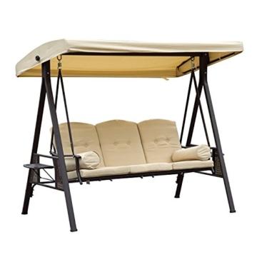 Outsunny 3-Sitzer Hollywoodschaukel Gartenschaukel mit Sonnendach + Kissen Metall + Polyester Beige + Braun 124,5 x 206 x 180 cm - 1