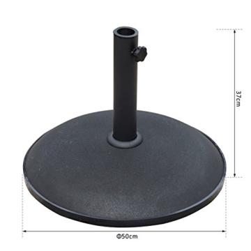 Outsunny Schirmständer Sonnenschirmständer Sonnenschirmfuß 25kg Stahl + Zement Schwarz ∅50 x 37 cm - 3