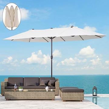 Outsunny Sonnenschirm Gartenschirm Marktschirm Doppelsonnenschirm Terrassenschirm mit Handkurbel Beige Oval 460 x 270 x 240 cm - 2