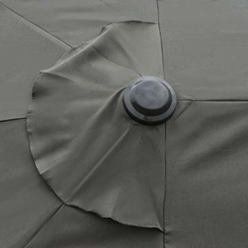 Outsunny Sonnenschirm Gartenschirm Marktschirm Doppelsonnenschirm Terrassenschirm mit Schirmständer Handkurbel Dunkelgrau Oval 460 x 270 x 240 cm - 2