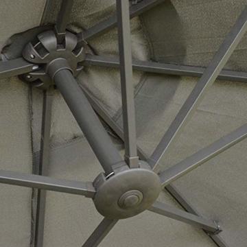 Outsunny Sonnenschirm Gartenschirm Marktschirm Doppelsonnenschirm Terrassenschirm mit Schirmständer Handkurbel Dunkelgrau Oval 460 x 270 x 240 cm - 3