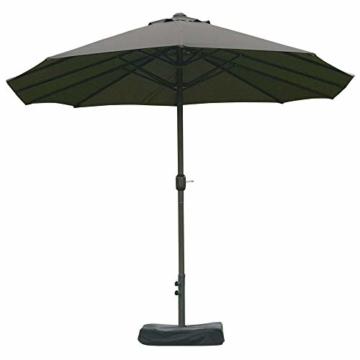 Outsunny Sonnenschirm Gartenschirm Marktschirm Doppelsonnenschirm Terrassenschirm mit Schirmständer Handkurbel Dunkelgrau Oval 460 x 270 x 240 cm - 5
