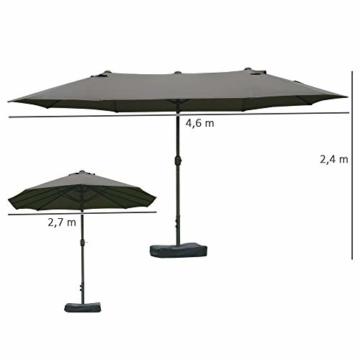Outsunny Sonnenschirm Gartenschirm Marktschirm Doppelsonnenschirm Terrassenschirm mit Schirmständer Handkurbel Dunkelgrau Oval 460 x 270 x 240 cm - 8
