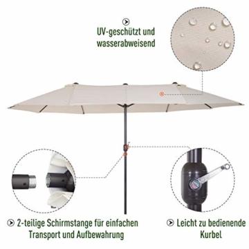 Outsunny Sonnenschirm Gartenschirm Marktschirm Doppelsonnenschirm Terrassenschirm mit Handkurbel Beige Oval 460 x 270 x 240 cm - 3