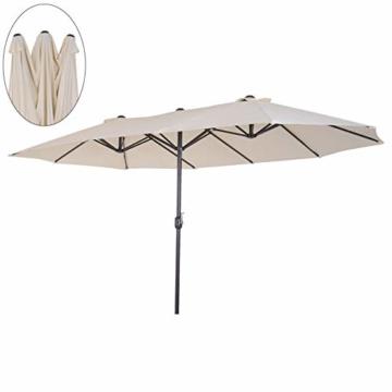 Outsunny Sonnenschirm Gartenschirm Marktschirm Doppelsonnenschirm Terrassenschirm mit Handkurbel Beige Oval 460 x 270 x 240 cm - 1
