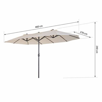 Outsunny Sonnenschirm Gartenschirm Marktschirm Doppelsonnenschirm Terrassenschirm mit Handkurbel Beige Oval 460 x 270 x 240 cm - 6