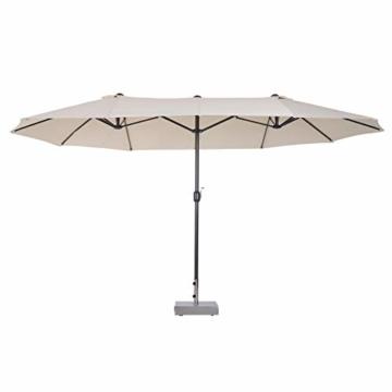 Outsunny Sonnenschirm Gartenschirm Marktschirm Doppelsonnenschirm Terrassenschirm mit Handkurbel Beige Oval 460 x 270 x 240 cm - 9