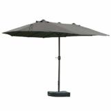 Outsunny Sonnenschirm Gartenschirm Marktschirm Doppelsonnenschirm Terrassenschirm mit Schirmständer Handkurbel Dunkelgrau Oval 460 x 270 x 240 cm - 1