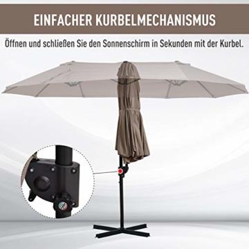 Outsunny Sonnenschirm mit Kurbel, Doppelschirm, Verstellbarer Gartenschirm, Sonnenschutz, Metall, Braun, 460 x 270 x 250 cm - 3