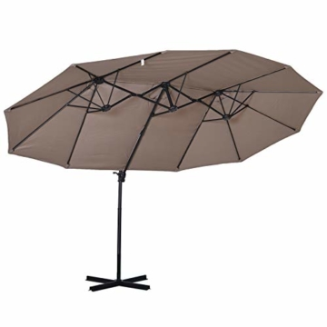 Outsunny Sonnenschirm mit Kurbel, Doppelschirm, Verstellbarer Gartenschirm, Sonnenschutz, Metall, Braun, 460 x 270 x 250 cm - 1