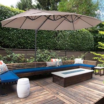 Outsunny Sonnenschirm mit Kurbel, Doppelschirm, Verstellbarer Gartenschirm, Sonnenschutz, Metall, Braun, 460 x 270 x 250 cm - 6