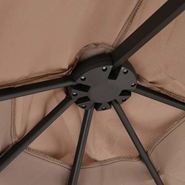 Outsunny Sonnenschirm mit Kurbel, Doppelschirm, Verstellbarer Gartenschirm, Sonnenschutz, Metall, Braun, 460 x 270 x 250 cm - 7