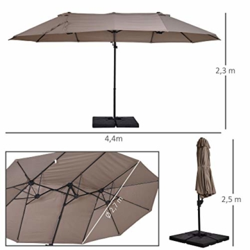 Outsunny Sonnenschirm mit Kurbel, Doppelschirm, Verstellbarer Gartenschirm, Sonnenschutz, Metall, Braun, 460 x 270 x 250 cm - 8