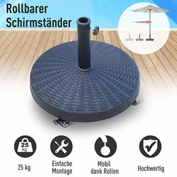 Outsunny Sonnenschirmständer Schirmständer Schirmhalter Schirmfuß 25 kg Rattanoptik Ständer Schirm Ø38/48 mm Kunstharz + Metall Schwarz Ø52 x 41 cm - 2