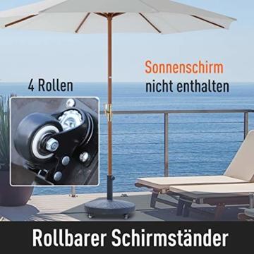 Outsunny Sonnenschirmständer Schirmständer Schirmhalter Schirmfuß 25 kg Rattanoptik Ständer Schirm Ø38/48 mm Kunstharz + Metall Schwarz Ø52 x 41 cm - 6
