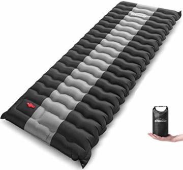 Overmont Camping Isomatte 12cm Dick für Camping Wanderungen Backpacking Reisen Zelte Strand Schwarz - 1