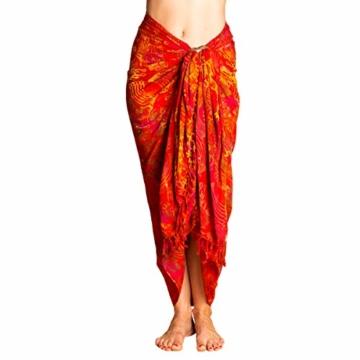 PANASIAM Sarong für Damen & Herren I 100% Handarbeit aus Indonesien - jedes Tuch ein Unikat I hochwertiger blickdichter Wickelrock I Batik m. deutschen Textilfarben I Strandtuch Fireflame Orangetone - 2