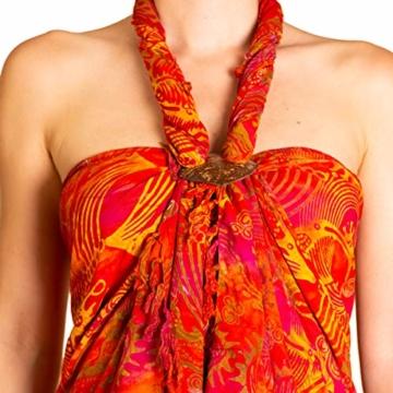 PANASIAM Sarong für Damen & Herren I 100% Handarbeit aus Indonesien - jedes Tuch ein Unikat I hochwertiger blickdichter Wickelrock I Batik m. deutschen Textilfarben I Strandtuch Fireflame Orangetone - 3